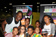 Actors Flex Alexander (top left), Tylen Jacob Williams (bottom left), Breanna Yde, Benjamin Glores Jr. (center), Sydney Park (top right), Damarr Calhoun (bottom right) and guests attend Fan Fest - AT&T, Geico, Poetic Jeans, Sneaker Con, Tennis, Xbox, Health And Wellness, Nickelodeon, Opening Concert, Centric Centrified during the 2014 BET Experience At L.A. LIVE on June 28, 2014 in Los Angeles, California.