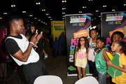 (L-R) Actors Flex Alexander, Breanna Yde, Benjamin Glores Jr. and guests attend Fan Fest - AT&T, Geico, Poetic Jeans, Sneaker Con, Tennis, Xbox, Health And Wellness, Nickelodeon, Opening Concert, Centric Centrified during the 2014 BET Experience At L.A. LIVE on June 28, 2014 in Los Angeles, California.