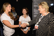 (L-R) HRH Princess Madeleine of Sweden, HRH Queen Silvia of Sweden and Prime minister of Norway Erna Solberg attend the 2014 Global Citizen Festival to end extreme poverty by 2030 at Central Park on September 27, 2014 in New York City.