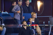 (L-R) David Lucado, Jayden James Federline and Britney Spears attend a hockey game between the New York Rangers and the Los Angeles Kings in Game Two of the 2014 NHL Stanley Cup Final at the Staples Center on June 7, 2014 in Los Angeles, California.