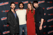 """Tom Riley, Gregg Chillin, Laura Haddock and Blake Ritson in the Press Room for """"Da Vinci's Demons"""" at 2014 New York Comic Con - Day 3 at Jacob Javitz Center on October 11, 2014 in New York City."""