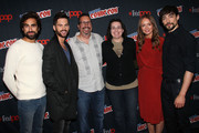 "Gregg Chillin, Tom Riley, John Shiban, Amy Berg, Laura Haddock and Blake Ritson in the Press Room for ""Da Vinci's Demons"" at 2014 New York Comic Con - Day 3 at Jacob Javitz Center on October 11, 2014 in New York City."