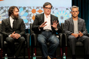 """(L-R) Will Forte, Al Jean, and Richard Appel speak onstage at the """"Behind The Laughs"""" panel during the FOX Network portion of the 2014 Summer Television Critics Association at The Beverly Hilton Hotel on July 20, 2014 in Beverly Hills, California."""