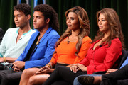 """(L-R) TV personalities Jaafar Jackson, Donte Jackson, Genevieve Jackson, Alejandra Jackson speak onstage at the """"Living With The Jacksons"""" panel during the Reelz Channel portion of the 2014 Summer Television Critics Association at The Beverly Hilton Hotel on July 12, 2014 in Beverly Hills, California."""