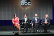 (L-R) Actors Alana de la Garza, Ioan Gruffudd, Executive producer Matt Miller and actor Judd Hirsch speak onstage at the 'Forever'' panel during the Disney/ABC Television Group portion of the 2014 Summer Television Critics Association at The Beverly Hilton Hotel on July 15, 2014 in Beverly Hills, California.