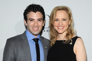 """Actors Anika Larsen (R) and Jarrod Spector of """"Beautiful: The Carole King Musical"""" attend the 2014 Tony Awards Meet The Nominees Press Reception at the Paramount Hotel on April 30, 2014 in New York City."""