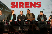 """(L-R) Executive producer Bob Fisher, executive producer Denis Leary, actror Michael Mosley, actor Kevin Daniels, actor Kevin Bigley, and actress Jessica McNamee of the television show """"Sirens"""" speak during the NBC Universal portion of the 2014 Winter Television Critics Association Press Tour at the Langham Hotel on January 18, 2014 in Pasadena, California."""