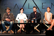(L-R) Creator/executive producer/writer Brannon Braga, creator/executive producer/writer Adam Simon, actress Janet Montgomery, actor Shane West, actress Ashley Madekwe and actor Seth Gabel speak during the WGN America portion of the 2014 Winter Television Critics Association Press Tour at the Langham Hotel on January 12, 2014 in Pasadena, California.