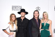 (L-R) Brittney Marie Cole, recording artists Brian Kelley and Tyler Hubbard of music group Florida Georgia Line and Hayley Stommel attend the 2015 American Music Awards at Microsoft Theater on November 22, 2015 in Los Angeles, California.