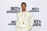 Author/musician Fonzworth Bentley poses in the press room during the 2015 BET Awards at the Microsoft Theater on June 28, 2015 in Los Angeles, California.