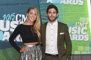 Lauren Gregory (L) and musician Thomas Rhett attend the 2015 CMT Music awards at the Bridgestone Arena on June 10, 2015 in Nashville, Tennessee.