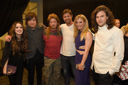 (L-R) Laura Marano, Neil Perry, David Spade, Noah Galloway, Kimberly Perry, and Reid Perry attend the 2015 CMT Music awards at the Bridgestone Arena on June 10, 2015 in Nashville, Tennessee.