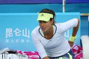 Ana Ivanovic of Serbia grimaces during her Womens semi-final match against Timea Bacsinszky of Switzerland on day 8 of the 2015 China Open at the National Tennis Centre on October 10, 2015 in Beijing, China.