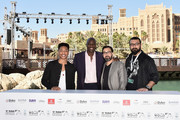 "Actors Jacob Latimore, Adewale Akinnuoye-Agbaje and directors Ayman Jamal and Khurram Alavi attend the ""Bilal"" photocall during day two of the 12th annual Dubai International Film Festival held at the Madinat Jumeriah Complex on December 10, 2015 in Dubai, United Arab Emirates."