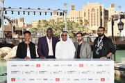 "Actors Jacob Latimore, Adewale Akinnuoye-Agbaje, DIFF Chairman Abdulhamid Juma and directors Ayman Jamal and Khurram Alavi attend the ""Bilal"" photocall during day two of the 12th annual Dubai International Film Festival held at the Madinat Jumeriah Complex on December 10, 2015 in Dubai, United Arab Emirates."