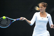 Bojana Jovanovski of Serbia plays a forehand in her second round match against Alison Riske of the USA during day five of the Hobart International at Domain Tennis Centre on January 15, 2015 in Hobart, Australia.