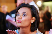 Miranda Tapsell  blows a kiss as she arrives at the 57th Annual Logie Awards at Crown Palladium on May 3, 2015 in Melbourne, Australia.