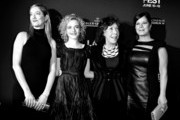 "Image has been converted to black and white.) (L-R) Actresses Judy Greer, Julia Garner, Lily Tomlin and Marcia Gay Harden arrive at the Los Angeles Film Festival opening night premiere of Sony Pictures Classics' ""Grandma"" at the Regal Cinemas L.A. Live on June 10, 2015 in Los Angeles, California."