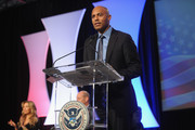 Former Yankee player Mariano Rivera (R) and singer Thalia speak onstage during the Naturalization Ceremony at Festival PEOPLE En Espanol 2015 presented by Verizon at Jacob Javitz Center on October 18, 2015 in New York City.