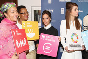 (L-R) Amina J. Mohammed, Graca Machel, Victoria Beckham and Queen Rania of Jordan attend the 2015 Social Good Summit at 92Y on September 27, 2015 in New York City.