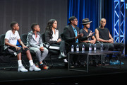 (L-R) Hercy Miller, Mercy Miller, Cymphonique Miller, Master P, Romeo Miller and Veno Miller speak onstage during the 'Master P's Family Empire' panel discussion at the Reelz portion of the 2015 Summer TCA Tour at The Beverly Hilton Hotel on August 7, 2015 in Beverly Hills, California.