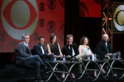 (L-R) Executive producer Alex Kurtzman, actors Hill Harper, Jennifer Carpenter, Jake McDorman, Mary Elizabeth Mastrantonio and executive producer Craig Sweeny speak onstage during the 'Limitless' panel discussion at the CBS portion of the 2015 Summer TCA Tour at The Beverly Hilton Hotel on August 10, 2015 in Beverly Hills, California.