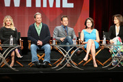 (L-R) Actors Annaleigh Ashford, Beau Bridges, Josh Charles, creator/executive producer Michelle Ashford and executive producer Sarah Timberman speak onstage during the 'Masters of Sex' panel discussion at the Showtime portion of the 2015 Summer TCA Tour at The Beverly Hilton Hotel on August 11, 2015 in Beverly Hills, California.