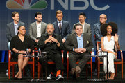 (Back L-R) Executive producer Andrew Dettmann, actors Colin Donnell, Nick Gehlfuss, Brian Tee, executive producer Matt Olmstead (Front L-R) actress S. Epatha Merkerson, executive producer Dick Wolf, actors Oliver Platt and Yaya DaCosta speak onstage during NBC's 'Chicago Med' panel discussion at the NBCUniversal portion of the 2015 Summer TCA Tour at The Beverly Hilton Hotel on August 13, 2015 in Beverly Hills, California.