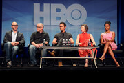 (L-R) Executive producer/writers Damon Lindelof, Tom Perrotta, actors Justin Theroux, ..Carrie Coon and Regina King speak onstage during the 'The Leftovers' panel discussion at the HBO portion of the 2015 Summer TCA Tour at The Beverly Hilton Hotel on July 30, 2015 in Beverly Hills, California.