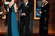 "Kiefer Sutherland and Rita Wilson present Marianne Elliott with the award for Best Direction of a Play for ""The Curious Incident of the Dog in the Night-Time"" onstage during the 2015 Tony Awards at Radio City Music Hall on June 7, 2015 in New York City."