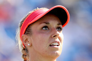 Sabine Lisicki of Germany plays Simona Halep of Romania during their Women's Singles Fourth Round match on Day Eight of the 2015 US Open at the USTA Billie Jean King National Tennis Center on September 7, 2015 in the Flushing neighborhood of the Queens borough of New York City.