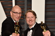 Producer Roy Conli (L) and writer/director Don Hall attend the 2015 Vanity Fair Oscar Party hosted by Graydon Carter at Wallis Annenberg Center for the Performing Arts on February 22, 2015 in Beverly Hills, California.