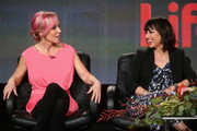 Creator Marti Noxon (L) and actress Constance Zimmer speak onstage during the 'Un-Real' panel at the A&E Networks portion of the 2015 Winter Television Critics Association press tour at the Langham Hotel on January 9, 2015 in Pasadena, California.