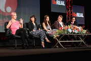 (L-R) Marti Noxon, Co-Creator/Executive Producer, actors Constance Zimmer, Shiri Appleby, Freddie Stroma, and Sarah Gertrude Shapiro, Co-Creator/Supervising Producer speak onstage during the 'Un-Real' panel at the A&E Networks portion of the 2015 Winter Television Critics Association press tour at the Langham Hotel on January 9, 2015 in Pasadena, California.