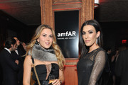 Actress Monique Zordan (R) poses for a photo with a guest as she attends 2015 amfAR generationCURE Holiday Party at Oak Room on December 3, 2015 in New York City.