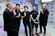 (L-R) Radio personality Elvis Duran, musicians Joe Trohman, Peter Wentz, Andy Hurley and Patrick Stump of Fall Out Boy attend the 2015 iHeartRadio Music Festival at MGM Grand Garden Arena on September 19, 2015 in Las Vegas, Nevada.