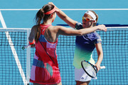 Ana Ivanovic of Serbia celebrates with Kirsten Flipkens of Belgium after winning their first round doubles match against Andrea Hlavackova and Lucie Hradecka of Czech Republic during day one of the 2016 ASB Classic at the ASB Tennis Arena on January 4, 2016 in Auckland, New Zealand.