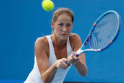 Bojana Jovanovski of Serbia plays a backhand in her first round match against Alize Cornet of France during day two of the 2016 Australian Open at Melbourne Park on January 19, 2016 in Melbourne, Australia.