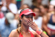 Ana Ivanovic of Serbia celebrates winning her first round match against Tammi Patterson of Australia during day two of the 2016 Australian Open at Melbourne Park on January 19, 2016 in Melbourne, Australia.