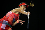 Ana Ivanovic of Serbia serves in her second round match against Anastasija Sevastova of Latvia during day four of the 2016 Australian Open at Melbourne Park on January 21, 2016 in Melbourne, Australia.