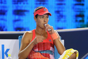 Ana Ivanovic of Serbia takes a drink in between games in her second round match against Anastasija Sevastova of Latvia during day four of the 2016 Australian Open at Melbourne Park on January 21, 2016 in Melbourne, Australia.