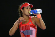 Ana Ivanovic of Serbia has a drink in her second round match against Anastasija Sevastova of Latvia during day four of the 2016 Australian Open at Melbourne Park on January 21, 2016 in Melbourne, Australia.