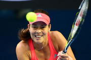 Ana Ivanovic of Serbia plays a backhand in her third round match against Madison Keys of the United States during day six of the 2016 Australian Open at Melbourne Park on January 23, 2016 in Melbourne, Australia.