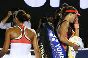 Ana Ivanovic (R) of Serbia leaves the court after losing in her third round match against Madison Keys (L) of the United States during day six of the 2016 Australian Open at Melbourne Park on January 23, 2016 in Melbourne, Australia.