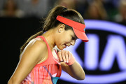 Ana Ivanovic of Serbia wipes her mouth in her third round match against Madison Keys of the United States during day six of the 2016 Australian Open at Melbourne Park on January 23, 2016 in Melbourne, Australia.