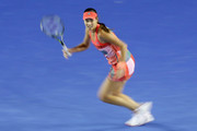 Ana Ivanovic of Serbia runs to play a forehand during her third round match against Madison Keys of America during day six of the 2016 Australian Open at Melbourne Park on January 23, 2016 in Melbourne, Australia.