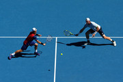 Lleyton Hewitt of Australia in his third round match with Sam Groth of Australia against Vasek Pospisil of Canada and Jack Sock of the United States during day seven of the 2016 Australian Open at Melbourne Park on January 24, 2016 in Melbourne, Australia.