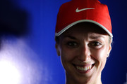 Sabine Lisicki of Germany smiles at a post match press conference during round one of the 2016 BMW Malaysian Open at Kuala Lumpur Golf & Country Club on February 29, 2016 in Kuala Lumpur, Malaysia.