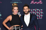 Singer-songwriter Thomas Rhett and wife Lauren Gregory attends the 2016 CMT Music awards at the Bridgestone Arena on June 8, 2016 in Nashville, Tennessee.