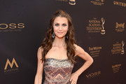 Actress Samantha Harris walks the red carpet at the 43rd Annual Daytime Emmy Awards at the Westin Bonaventure Hotel on May 1, 2016 in Los Angeles, California.
